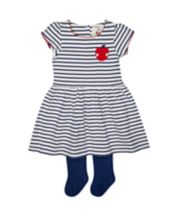 Navy Striped Dress With Tights
