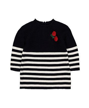 Mothercare Cherry Navy Stripe Knit Dress