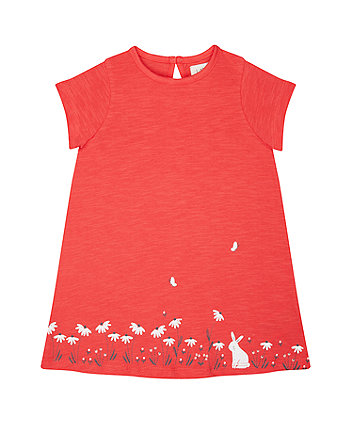 Mothercare Bunny And Flowers Coral Dress