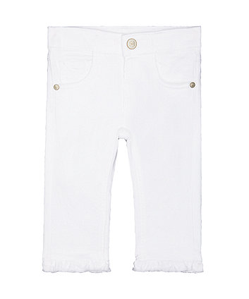 Frill Ankle White Skinny Jeans