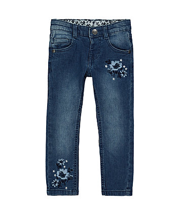 Embroidered Mid-Wash Skinny Jeans