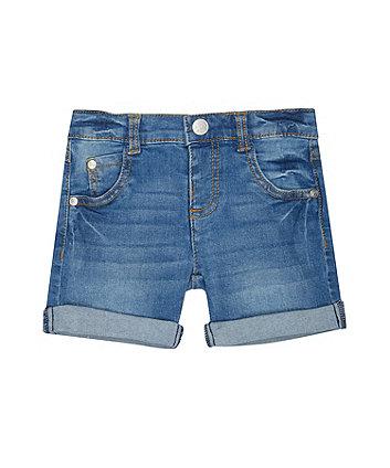 Light-Wash Denim Roll-Up Shorts
