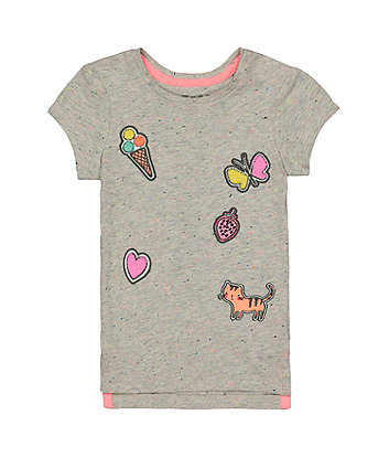 Grey Applique T-Shirt