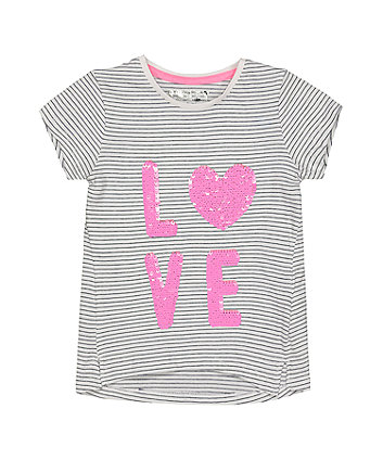 Love Sequin Stripe T-Shirt