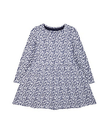 Mothercare Navy Ditsy Floral Dress