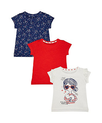 Mothercare Cat, Hearts And Red T-Shirts – 3 Pack