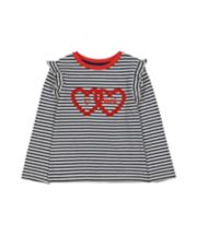 Navy Stripes And Red Hearts T-Shirt