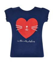 Navy Cat And Heart T-Shirt