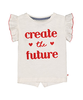 White And Red Create The Future T-Shirt