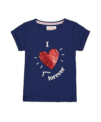 Navy Sequin Heart I Love You Forever T-Shirt