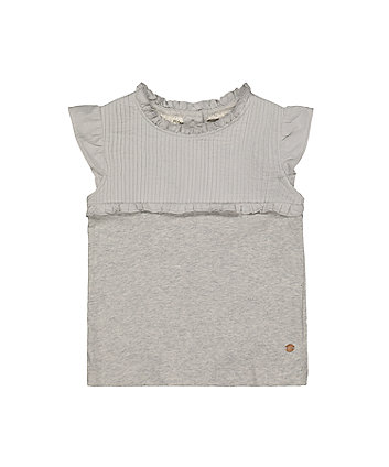 Grey Pleated T-Shirt