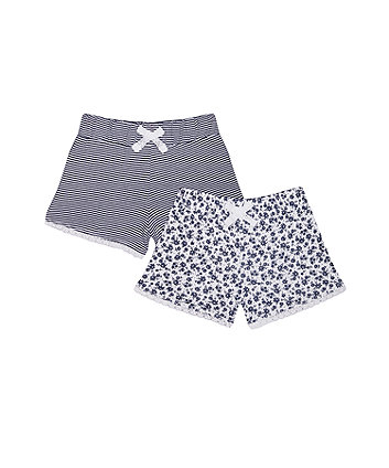 Mothercare Navy Stripe And Flower Shorts - 2 Pack