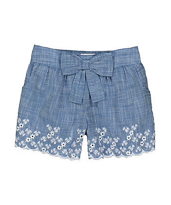 Mothercare Chambray Broderie Shorts