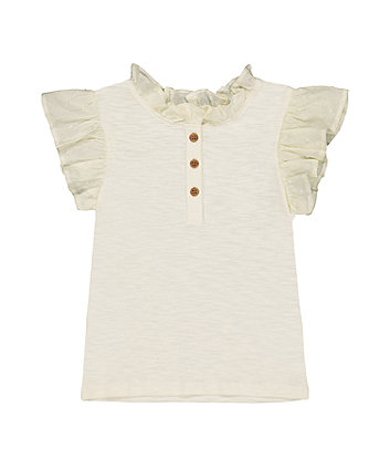 Mothercare Cream Frill T-Shirt