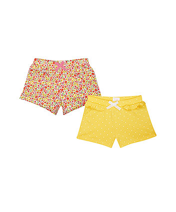 Mothercare Yellow Spot And Floral Shorts - 2 Pack