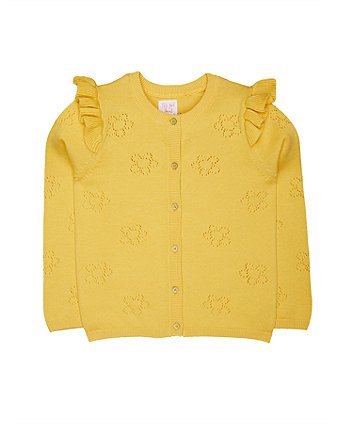 Yellow Pointelle Frill Cardigan