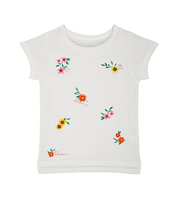 Flower Embroidery White T-Shirt