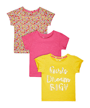 Yellow Slogan T-Shirt - 3 Pack