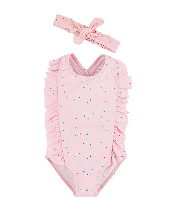 Pink Spot Swimsuit And Headband Set
