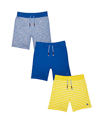 Mothercare Yellow Striped Shorts - 3 Pack