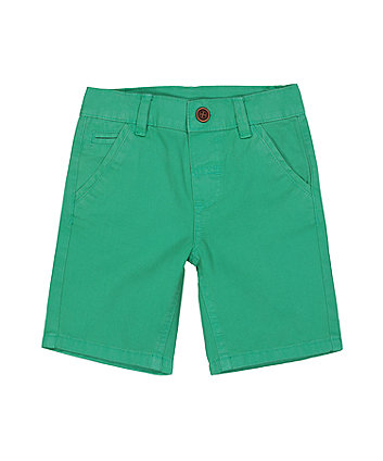 Green Twill Shorts