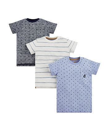 Blue Printed T-Shirts - 3 Pack