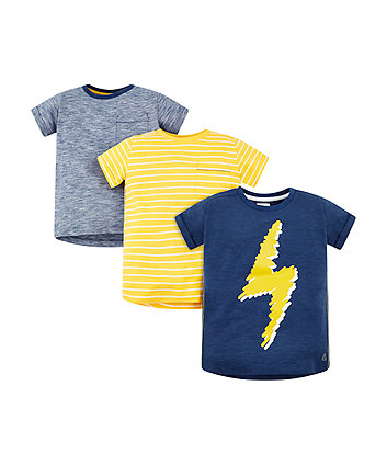 Mothercare Thunderbolt, Stripes And Blue T-Shirts – 3 Pack