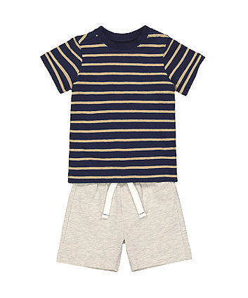Mothercare Striped T-Shirt And Shorts Set