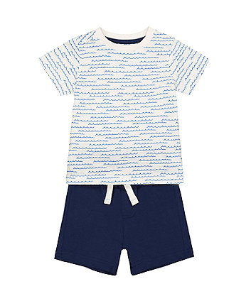 Wave T-Shirt And Blue Shorts Set