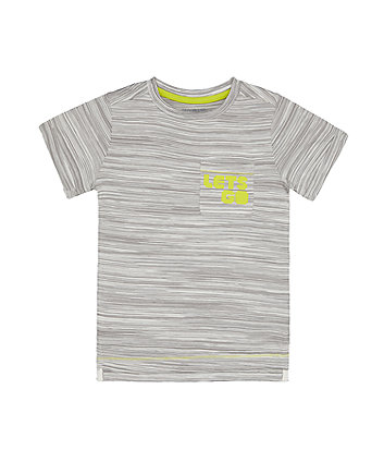 Mothercare Grey Stripe Lets Go T-Shirt