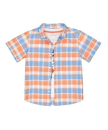 Blue Check Shirt And Surf T-Shirt Set