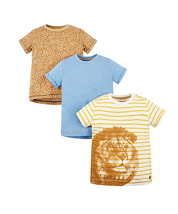 Mothercare Lion And Blue T-Shirts - 3 Pack