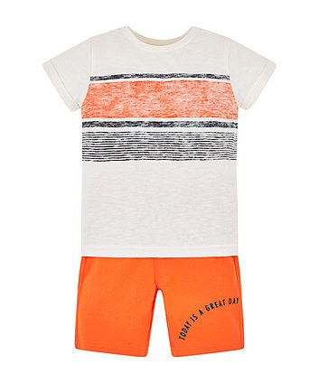 Multicoloured Stripe T-Shirt And Orange Shorts Set