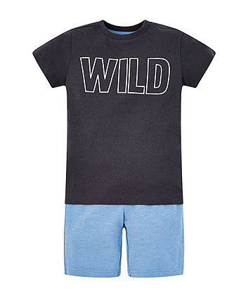 Wild T-Shirt And Blue Shorts Set