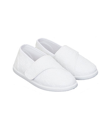 Mothercare White Broderie Canvas Shoes