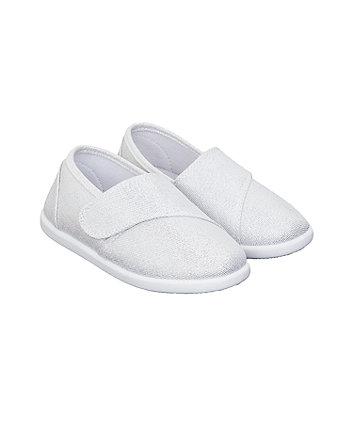 Mothercare Silver Sparkle Canvas Shoes