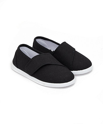 Mothercare Black Canvas Pumps