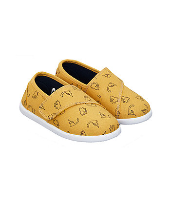 Mothercare Mustard Dinosaur Canvas Pumps