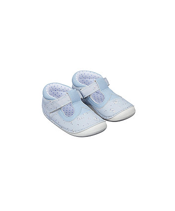 Blue Floral Crawler Shoes