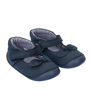 Mothercare Navy Bow Crawler Shoes