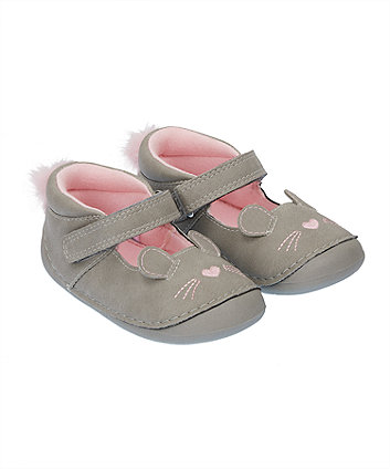 Mothercare Grey Mouse Crawler Shoes