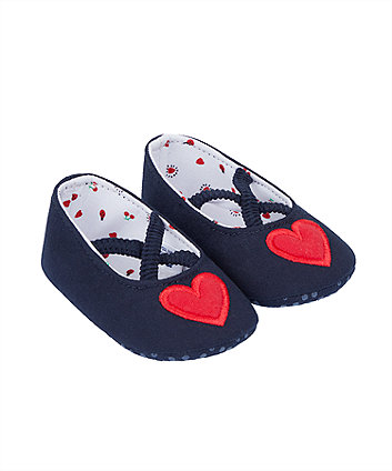 Heart Navy Ballerina Pram Shoes