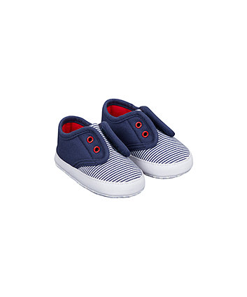 Navy Stripe Laceless Canvas Pram Shoes