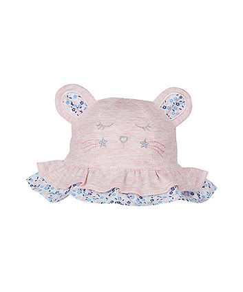 Mothercare Pink Mouse Jersey Sun Hat