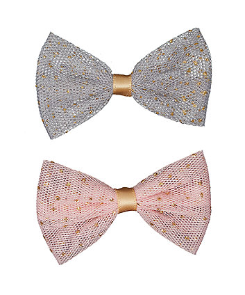 Pink Mesh Bow Hair Clips - 2 Pack
