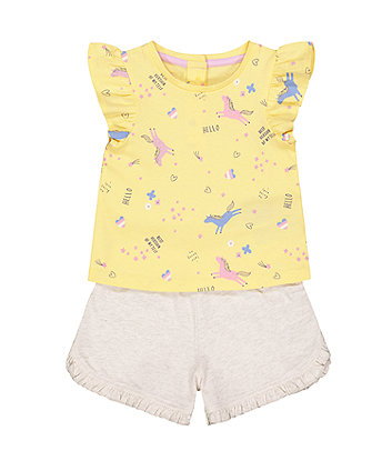 Mothercare Unicorn Vest And Shorts Set