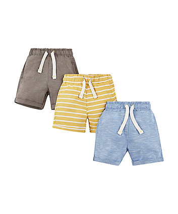 Blue, Grey And Yellow Shorts - 3 Pack
