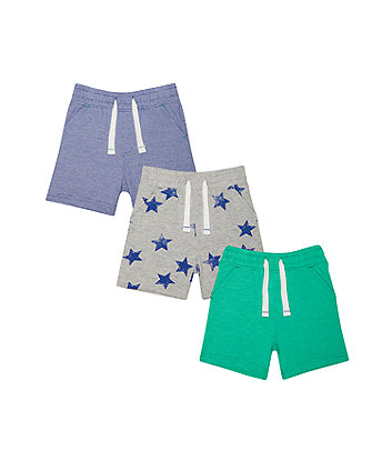 Blue, Green And Stars Shorts - 3 Pack