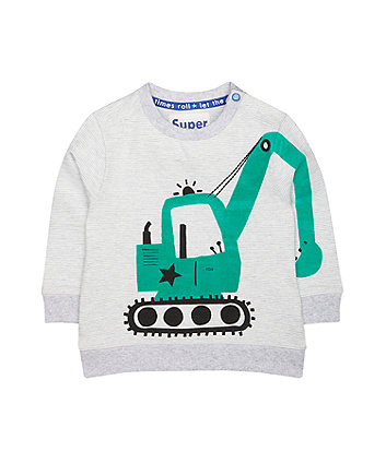 Mothercare Digger Stripe Grey Sweat Top