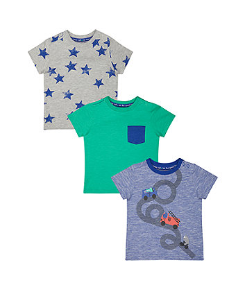Mothercare Car, Green And Star T-Shirts - 3 Pack